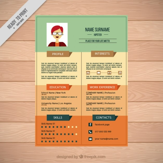 colors modern resume vector
