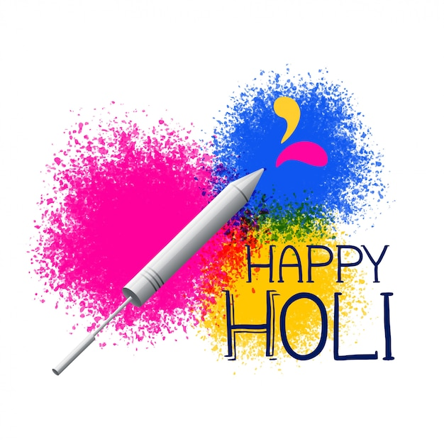 Colors splatter with pichkari for holi festival greeting Free Vector