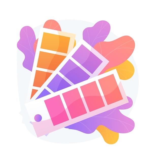 색상 견본 팔레트. 페인트 샘플 팬, 인테리어 디자인 색상, 스펙트럼 스케일. 그래픽 디자이너 가이드 흰색 배경에 고립 된 클립 아트입니다. 무료 벡터