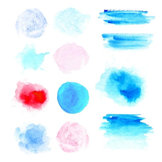 Цвета акварельные краски пятна. настоящая акварельная текстура. акварель брызги и точек текстуры. в синий, розовый и красный цвет лака Premium векторы