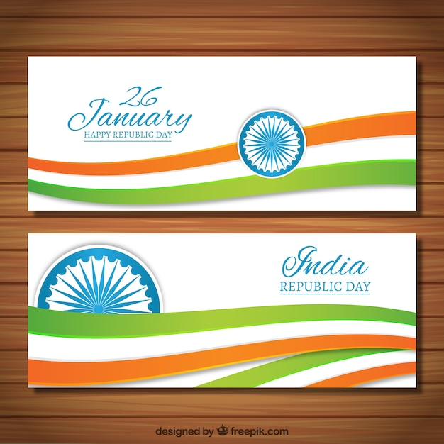Colors waves India Republic Day banners