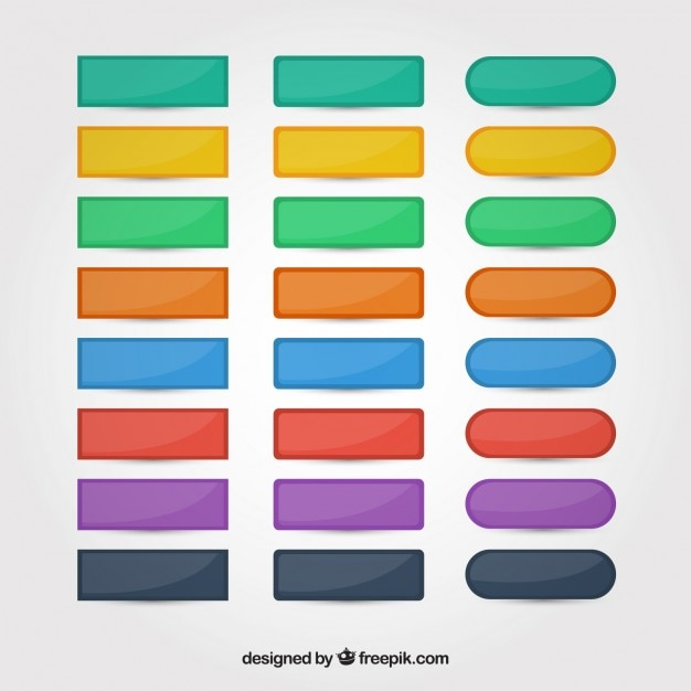 Colors Web Buttons Set Free Vector