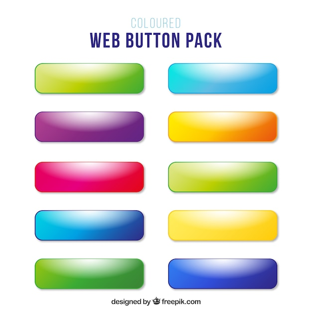 Colors web buttons without text Vector | Free Download