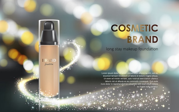Colorstay make-up in elegant packaging gray background with a bokeh effect and a stream of sparkling dust Free Vector