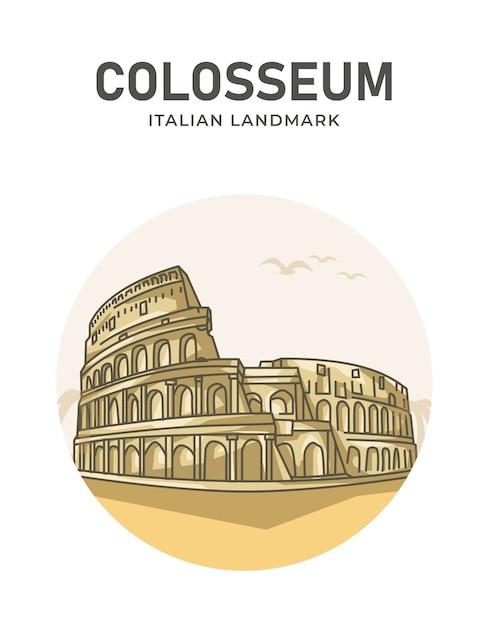 Плакат с итальянской достопримечательностью колизея Premium векторы
