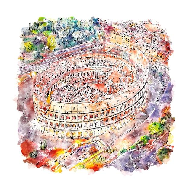 Колизей рим италия акварельный эскиз рисованной иллюстрации Premium векторы