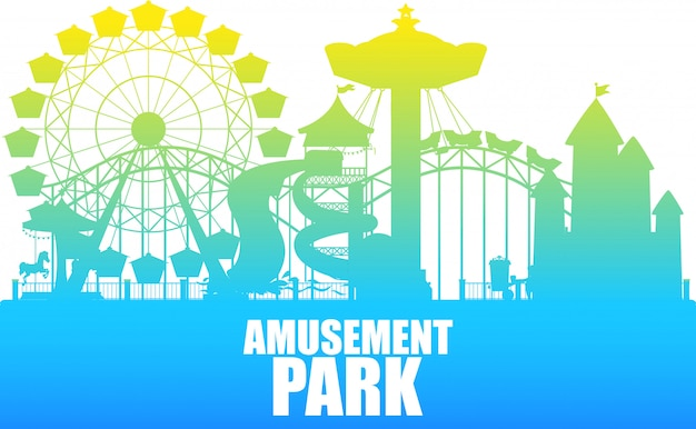 A colour silhouette amusement park template Free Vector