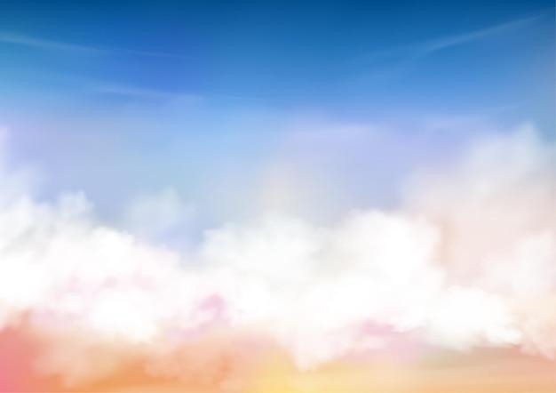 Цветное небо с белыми облаками и сияющим солнцем. Premium векторы