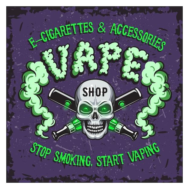 Illustrazione vettoriale di colore di fumo di vape e sigarette elettroniche. Vettore gratuito