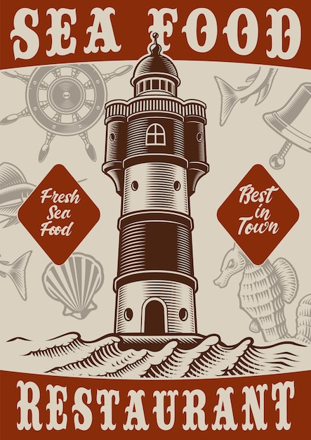 Colour vintage poster of the marine theme with lighthouse on white background Premium Vector