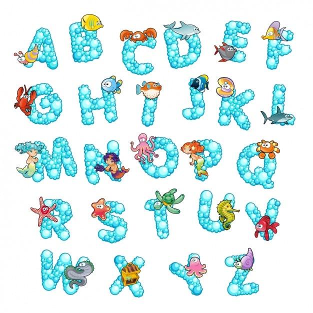 Coloured alphabet design Free Vector