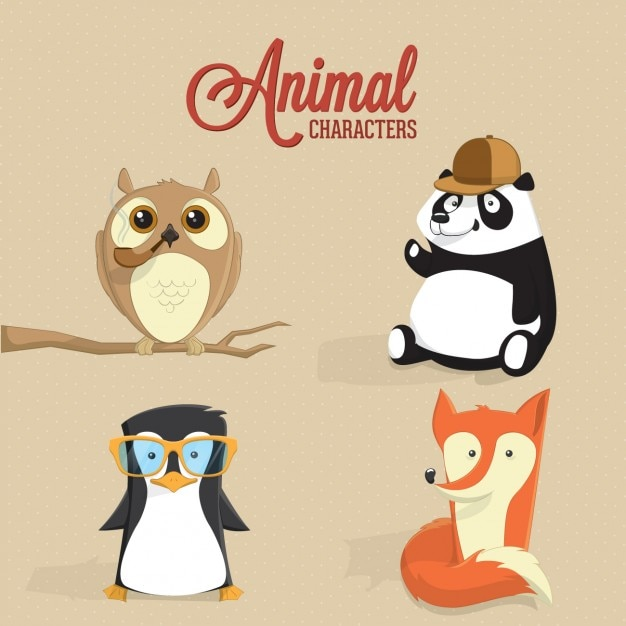 Coloured animal characters Free Vector