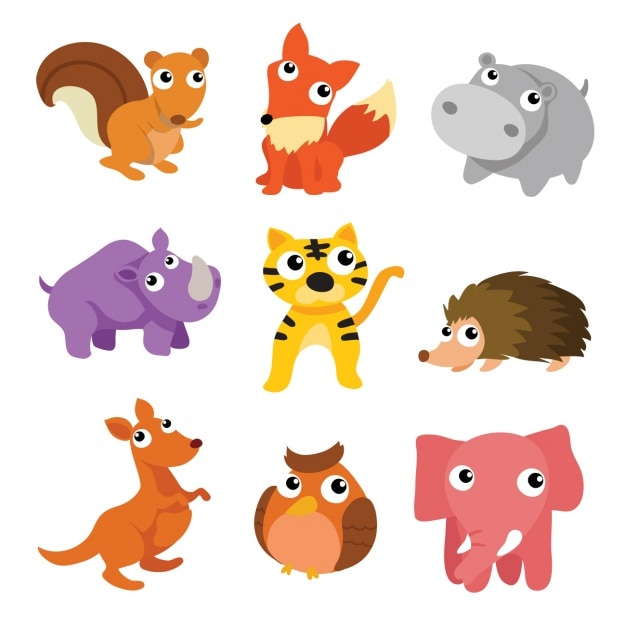 Coloured animals collection Free Vector