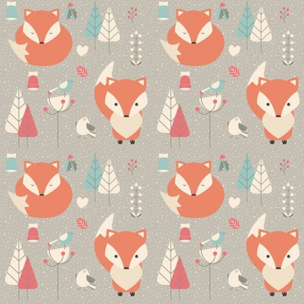 Coloured animals pattern Free Vector