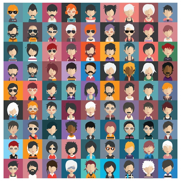 Coloured avatars collection Premium Vector