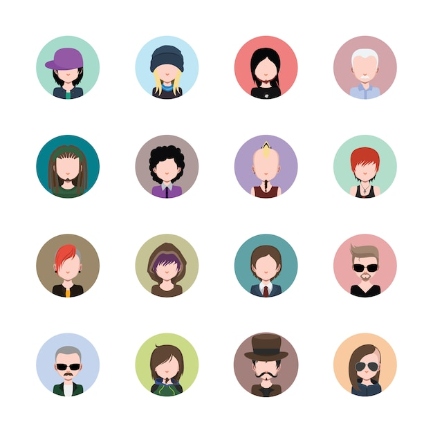 Coloured avatars collection Free Vector