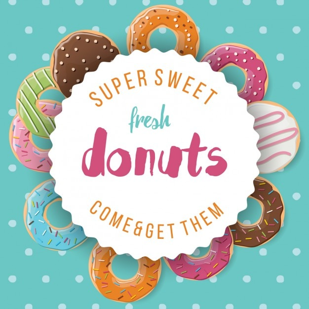 Coloured background of donuts Free Vector