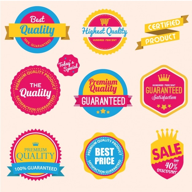Coloured badges collection Free Vector