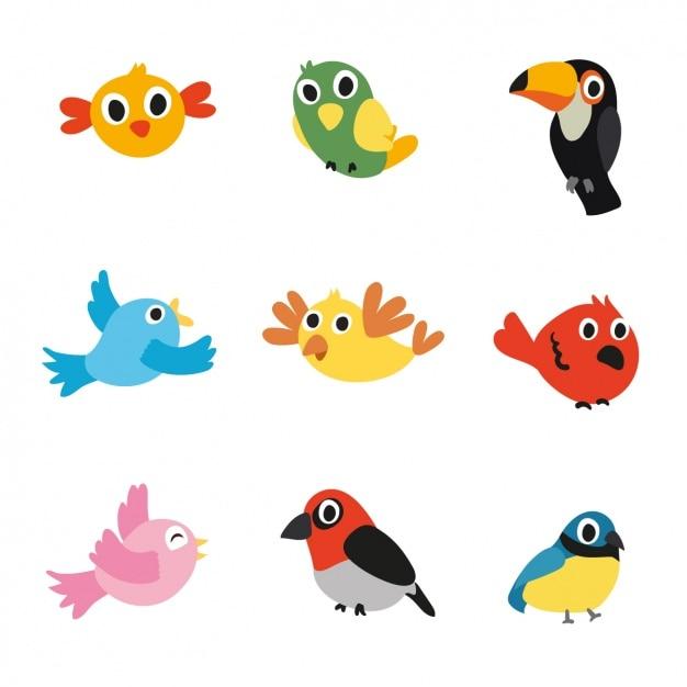 色とりどりの鳥のコレクション 無料ベクター