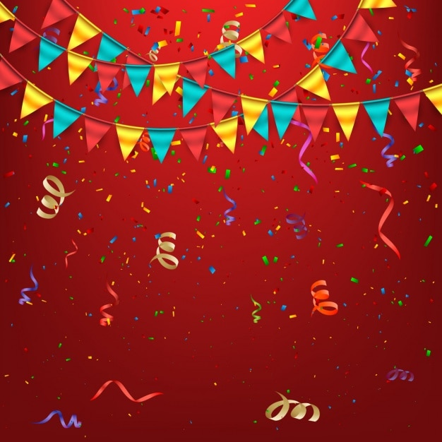 Coloured birthday background Free Vector