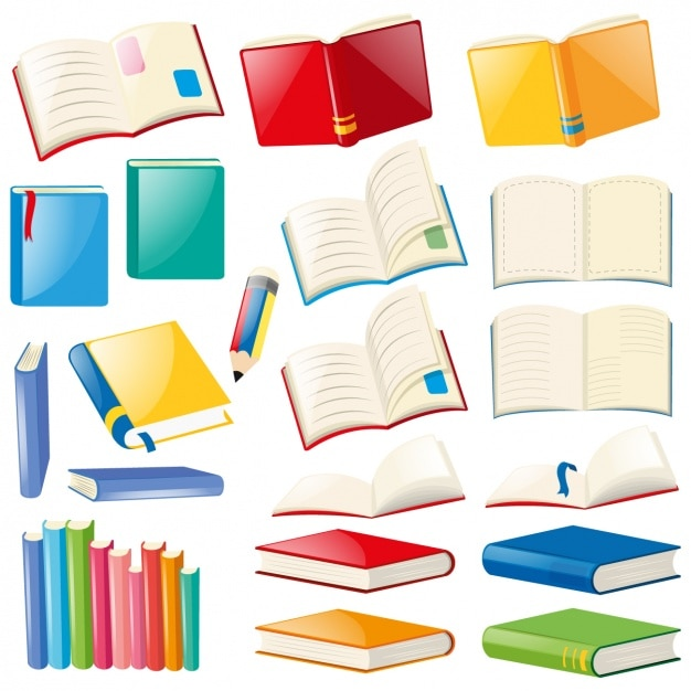 Coloured books collection Free Vector