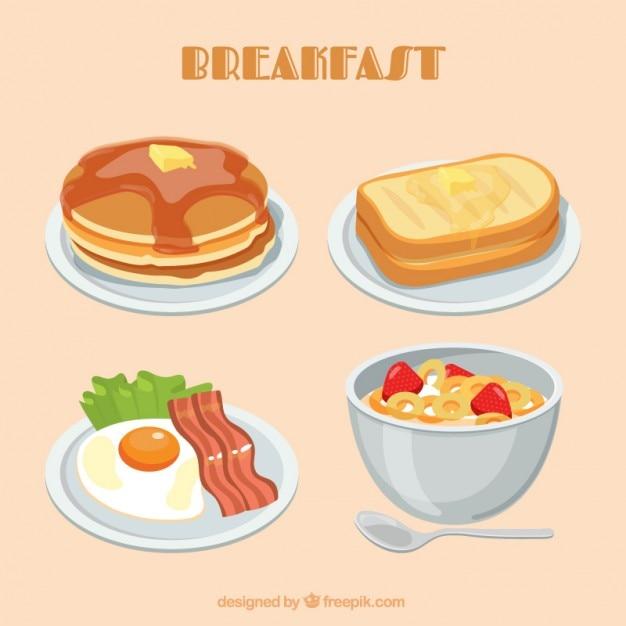 Тонированные завтрак плиты Premium векторы
