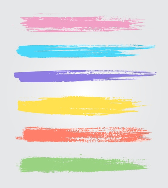 Coloured brush strokes collection Free Vector
