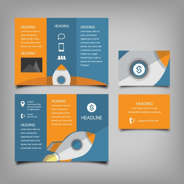 Coloured business stationery Free Vector