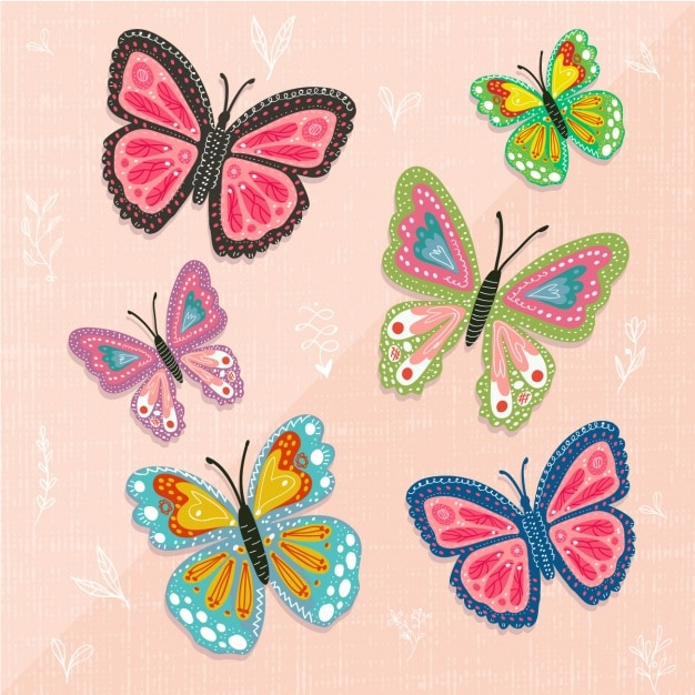 Coloured butterflies collection Free Vector