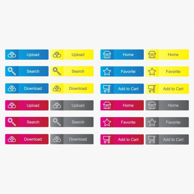 Coloured buttons collection Free Vector