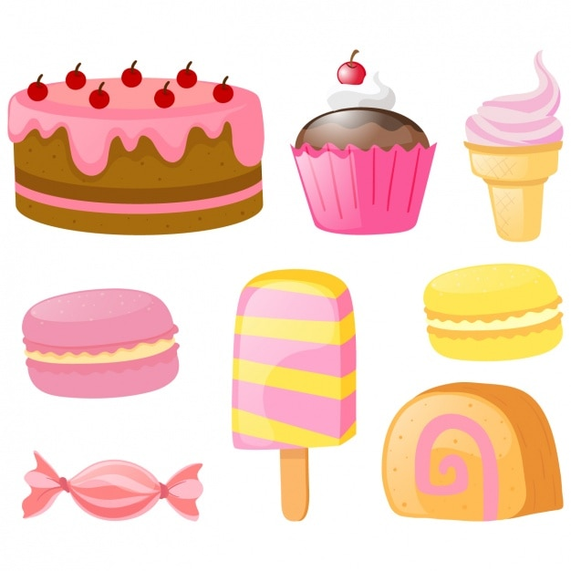 Coloured cakes collection Free Vector