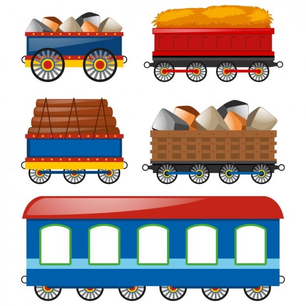 Coloured carriages collection Free Vector