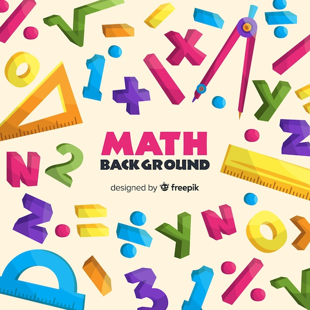 Coloured cartoon mathematics background with letters and numbers Free Vector