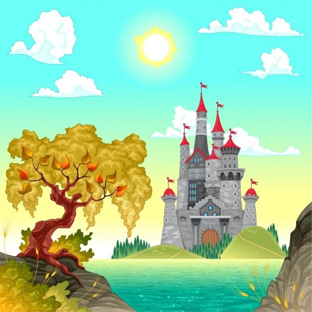 Coloured Castle Background Vector