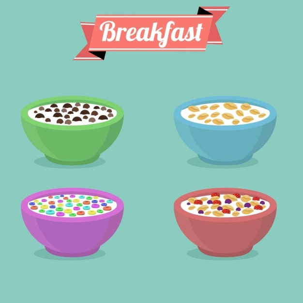 Coloured cereal bowl collection Free Vector