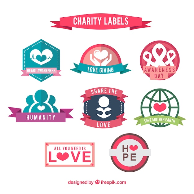 Coloured Charity Labels Collection