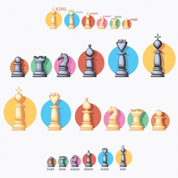 Coloured chess pieces collection Free Vector