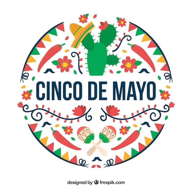 Coloured Cinco De Mayo Background Vector | Premium Download