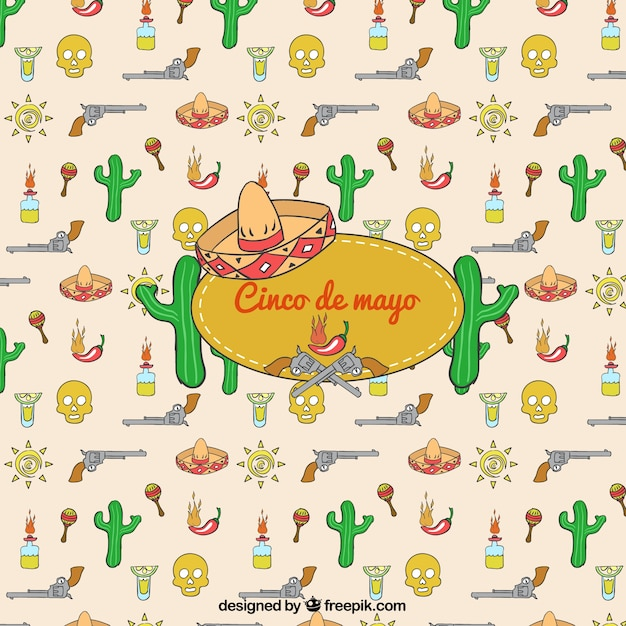 Coloured Cinco De Mayo Icons Background Vector | Free Download