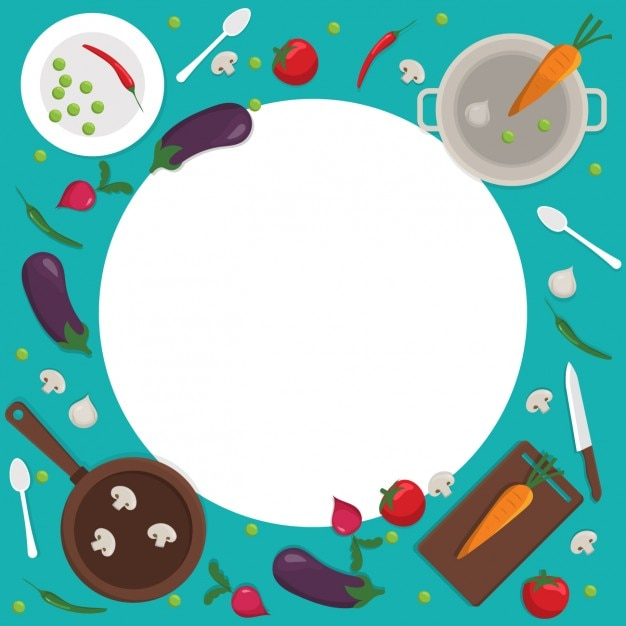 Coloured cooking background with a rounded frame Vector ...
