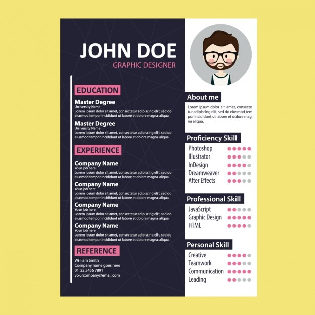 coloured curriculum vitae template vector