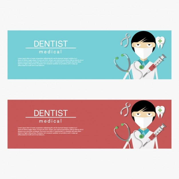 Coloured dentist banners