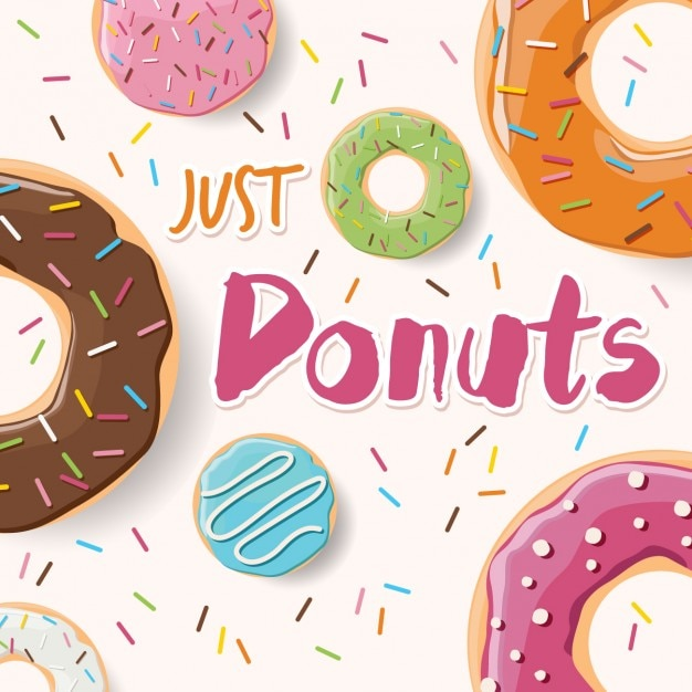 Coloured donuts background design Free Vector
