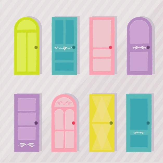 Coloured doors collection Free Vector