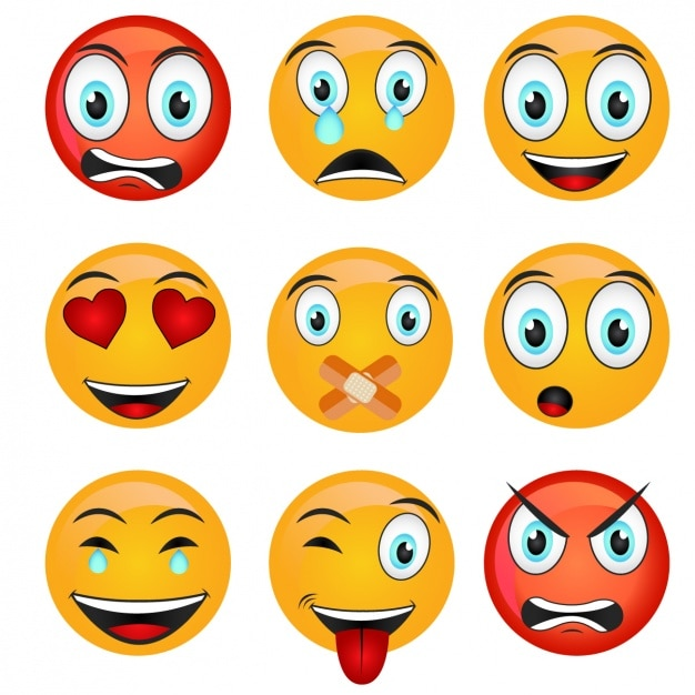 Coloured emoticons collection Free Vector