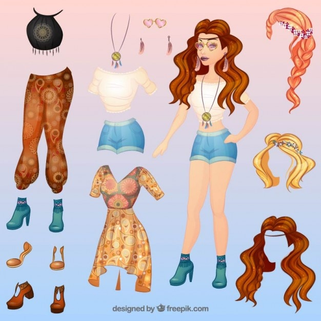 Coloured Fashion Boho Style Complements Vector Free Download