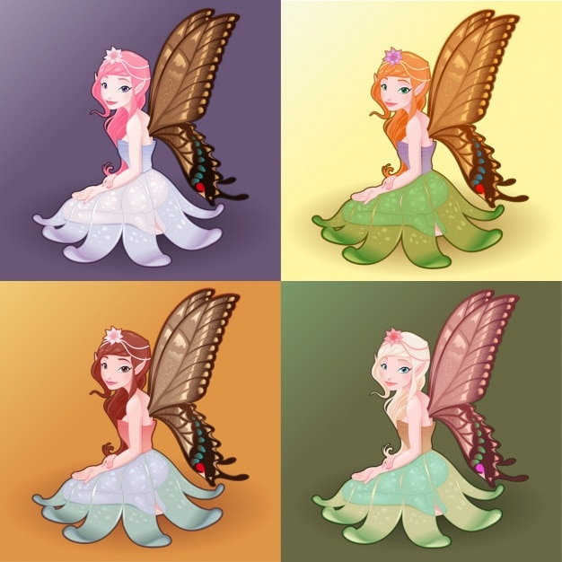 Coloured fayries set Free Vector