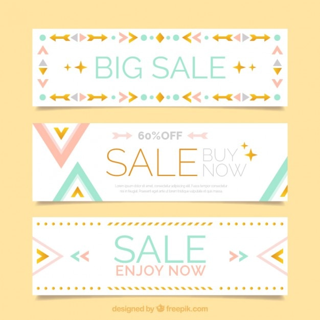 Coloured flat design banners Free Vector