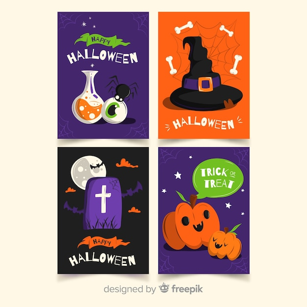 Coloured flat halloween card collection Free Vector