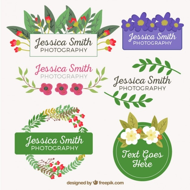 Coloured floral badges design Premium Vector